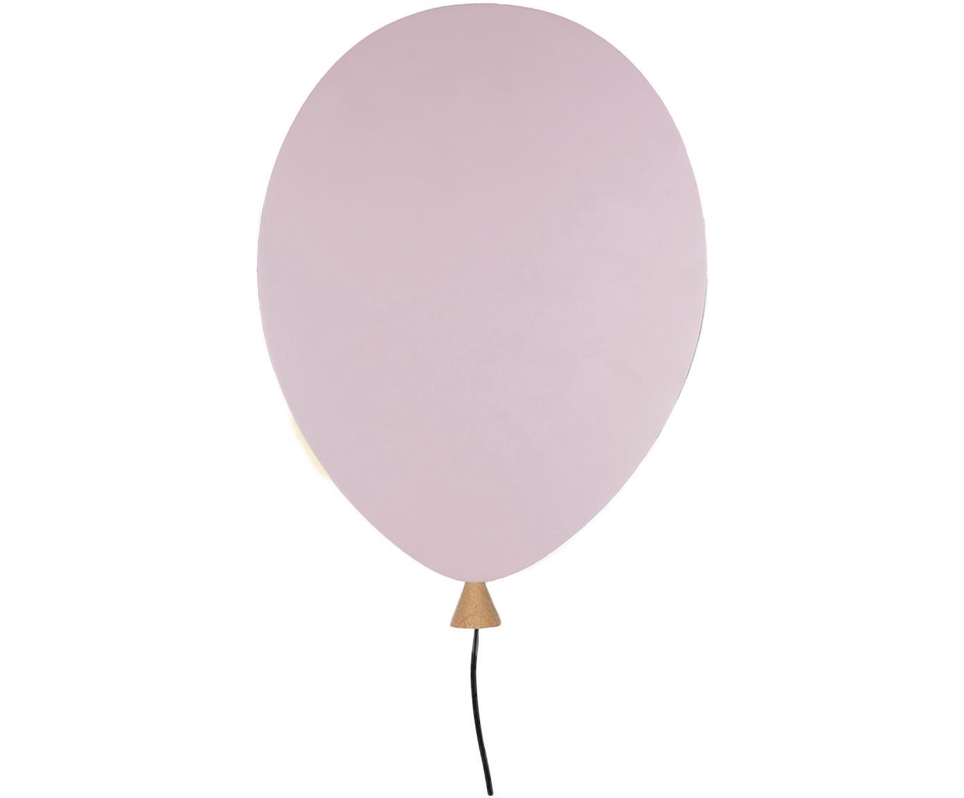 Applique in legno con spina Balloon, Paralume: legno rivestito, Rosa, Larg. 25 x Alt. 35 cm