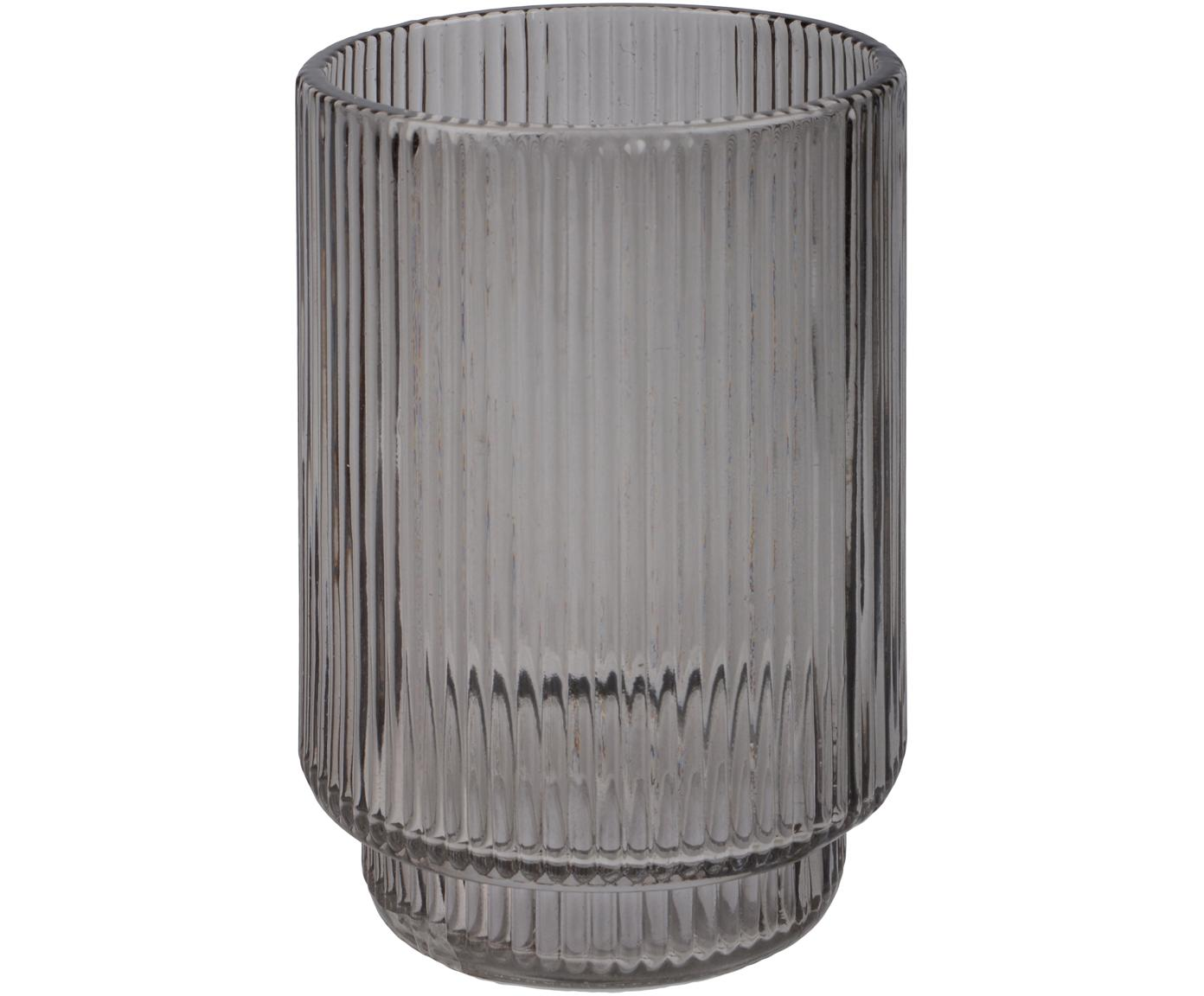 Tandenborstelbeker Ligia van geribbeld glas, Glas, Grijs, transparant, Ø 8 cm