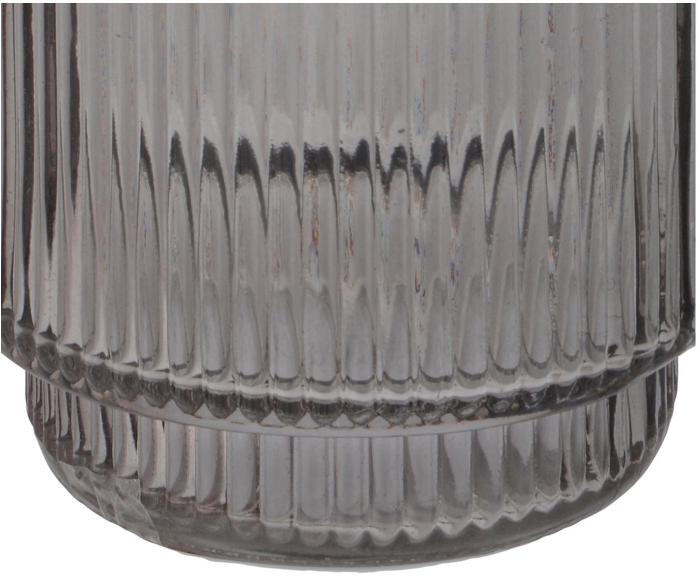 Zahnputzbecher Ligia aus geriffeltem Glas, Glas, Grau, transparent, Ø 8 x H 10 cm