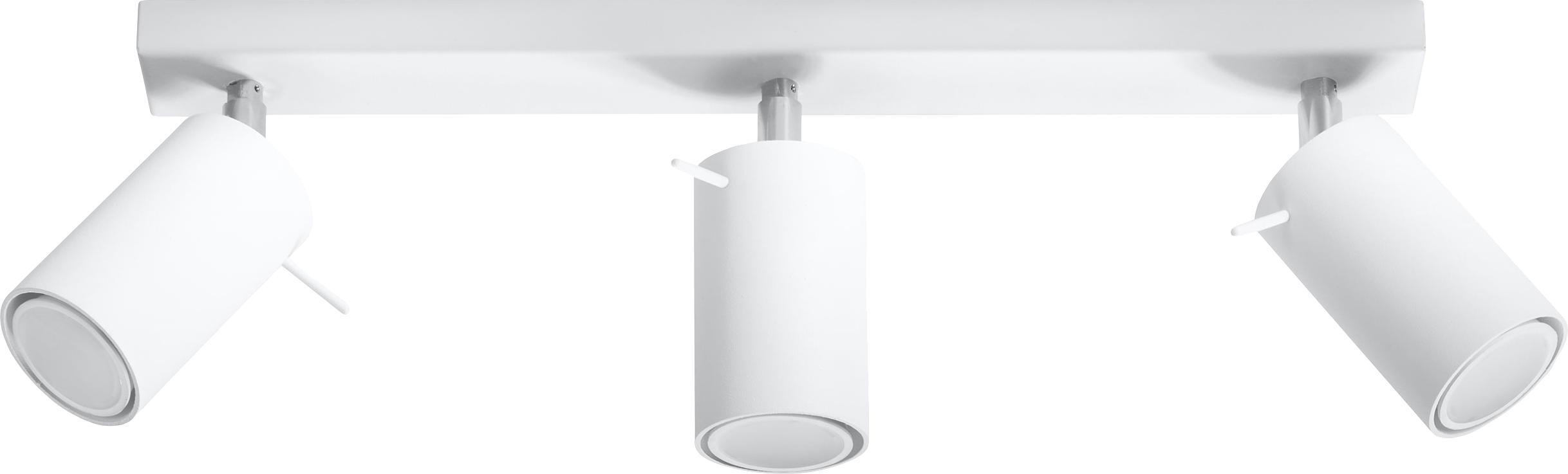 Plafondspot Etna in wit, Gelakt staal, Wit, 45 x 15 cm