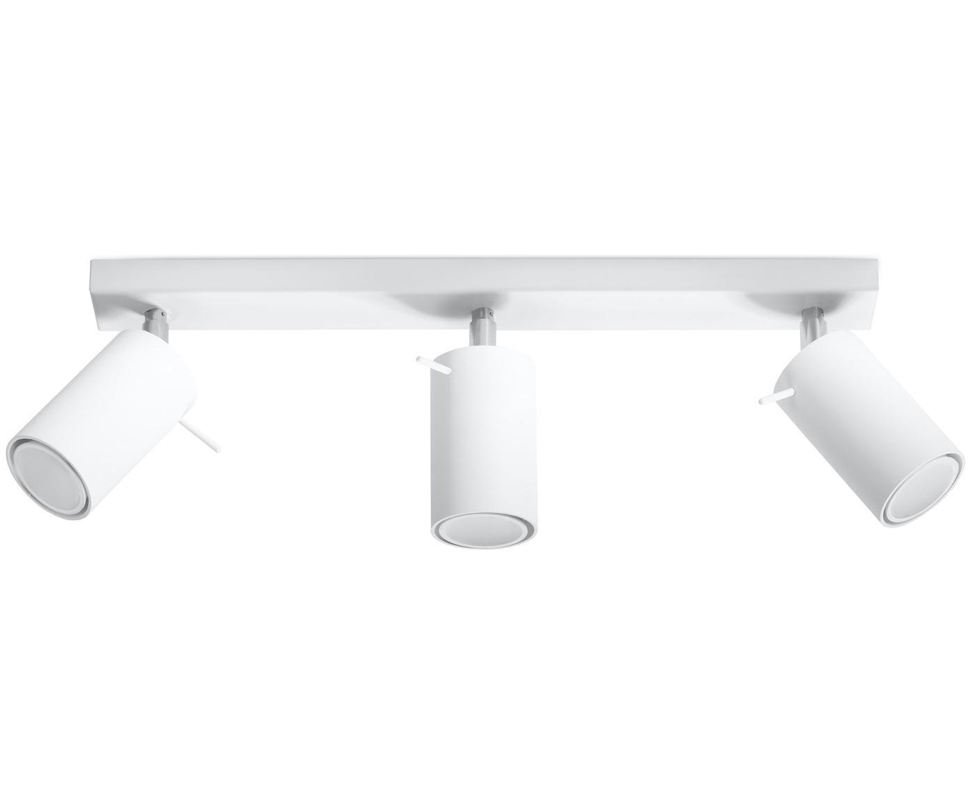 Deckenstrahler Etna in Weiss, Stahl, lackiert, Weiss, 45 x 15 cm