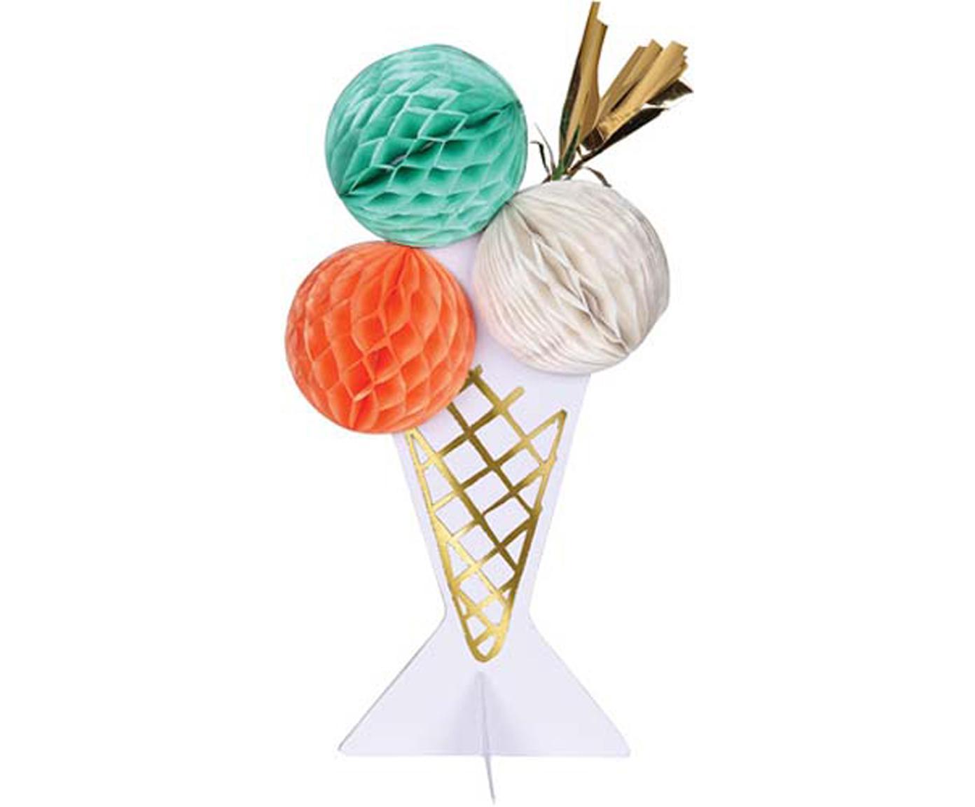 Kartka urodzinowa Ice Cream, Papier, Blady różowy, biały, zielony miętowy, odcienie złotego, D 13 x S 19 cm