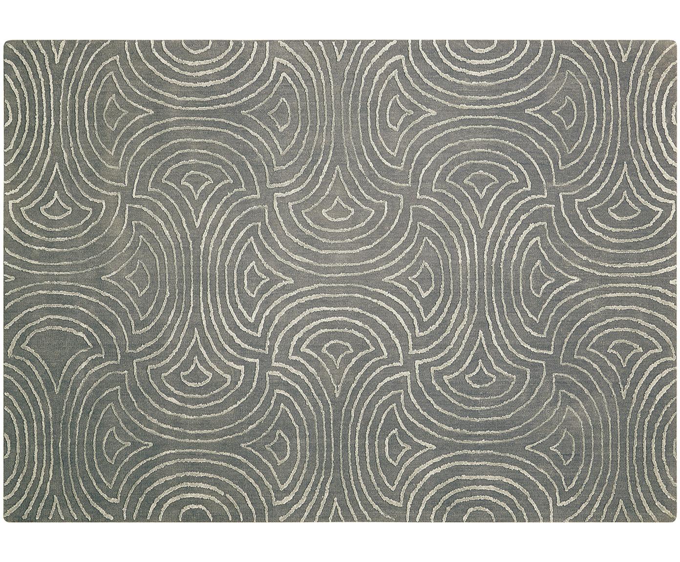 Handgetuft vloerkleed Vita Illusion, Bovenzijde: 90%polyester, 10% viscos, Onderzijde: katoen, latex-gecoat, Mosgroen, B 150 x L 215 cm (maat M)