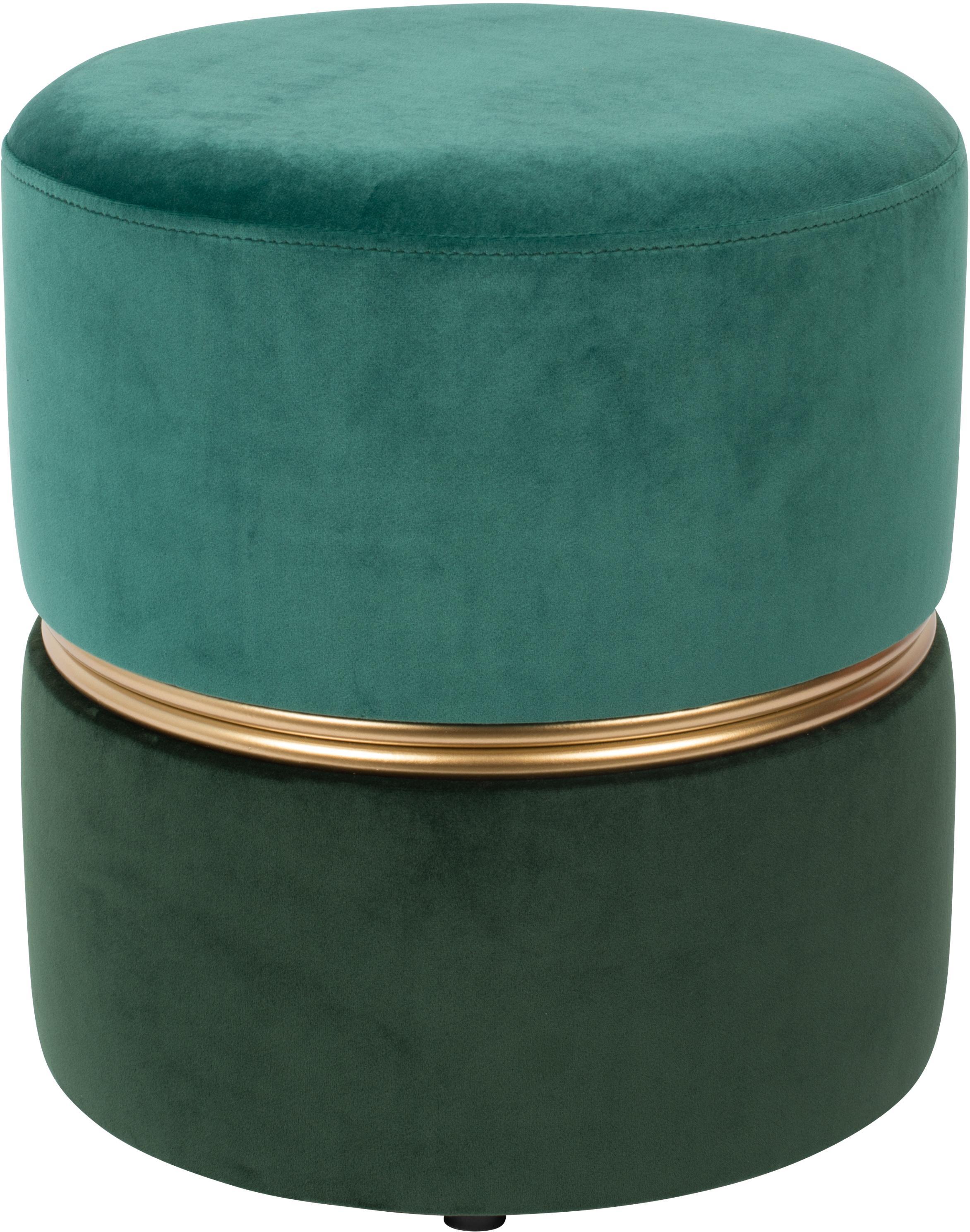 Puf de terciopelo Bubbly, Tapizado: terciopelo de poliéster 2, Estructura: tablero de fibra de densi, Tonos verdes, Ø 35 x Al 39 cm