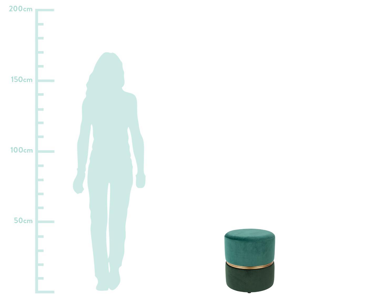 Samt-Hocker Bubbly, Bezug: Polyestersamt 20.000 Sche, Gestell: Mitteldichte Holzfaserpla, Grüntöne, Ø 35 x H 39 cm
