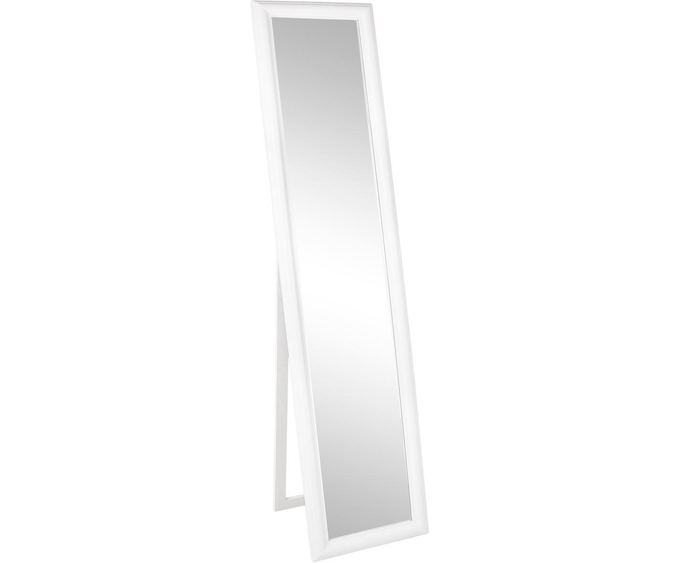 Specchio da terra quadrato con legno bianco Sanzio, Cornice: legno rivestito, Superficie dello specchio: lastra di vetro, Bianco, Larg. 40 x Alt. 170 cm