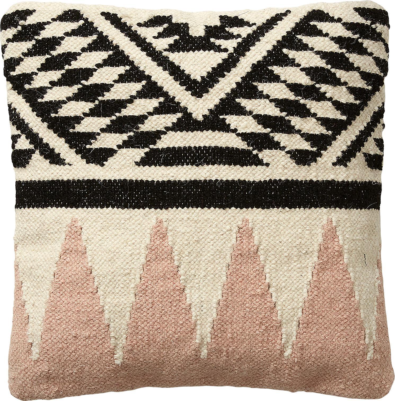 Poszewka na poduszkę Greta, Bawełna, Beżowy, czarny, blady różowy, S 45 x D 45 cm