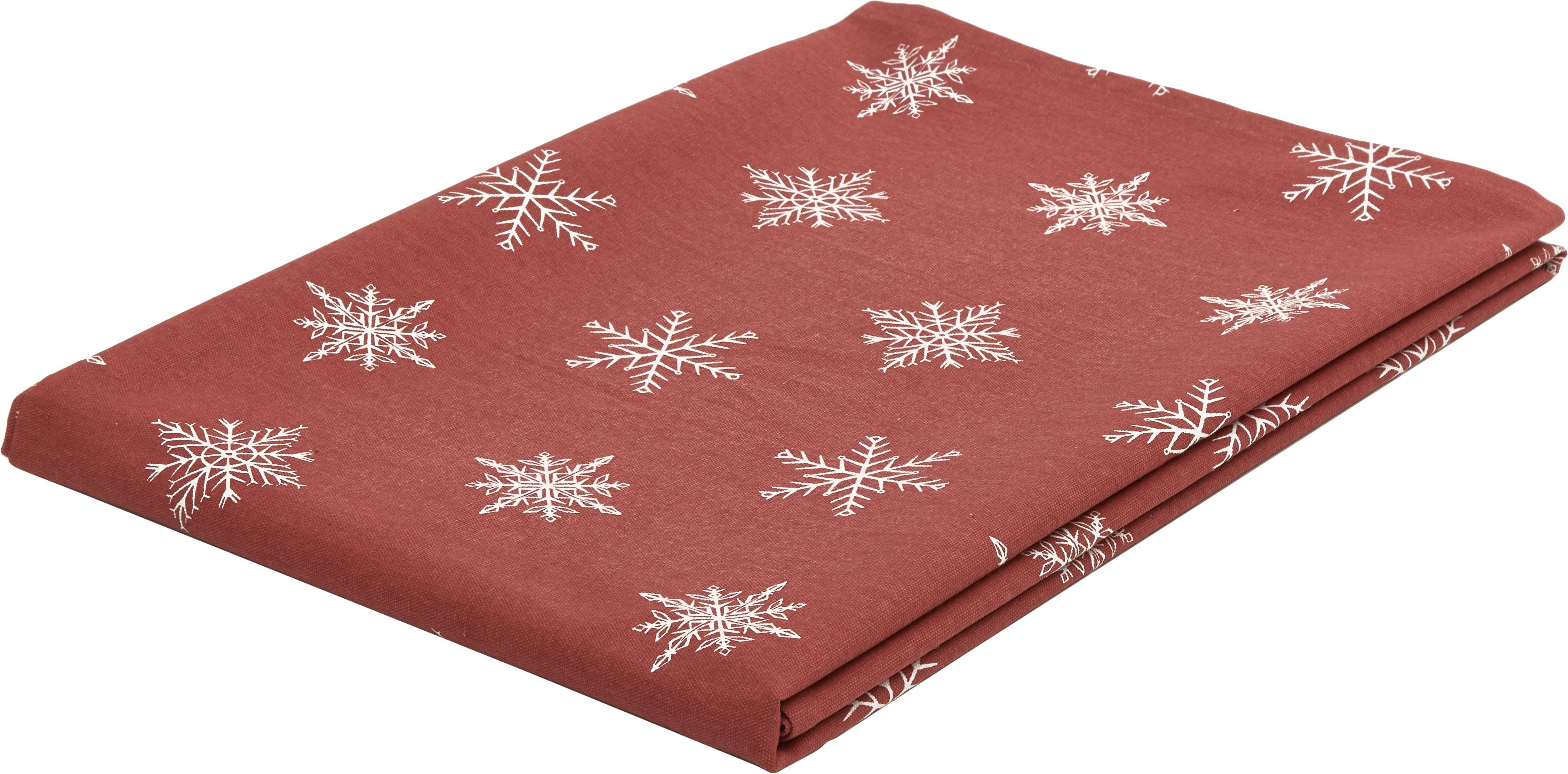 Tovaglia Snow, 100% cotone da coltivazione sostenibile, Rosso, bianco, Larg. 145 x Lung. 200 cm