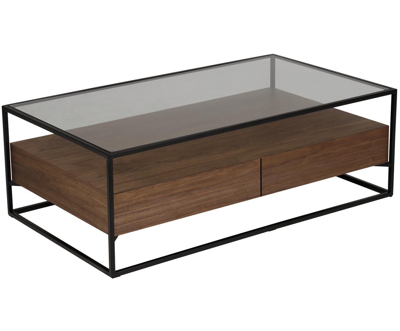 Couchtisch Helix mit Schubladen, Gestell: Metall, pulverbeschichtet, Sockel und Tischplatte: Glas, Schwarz, Braun, 120 x 40 cm