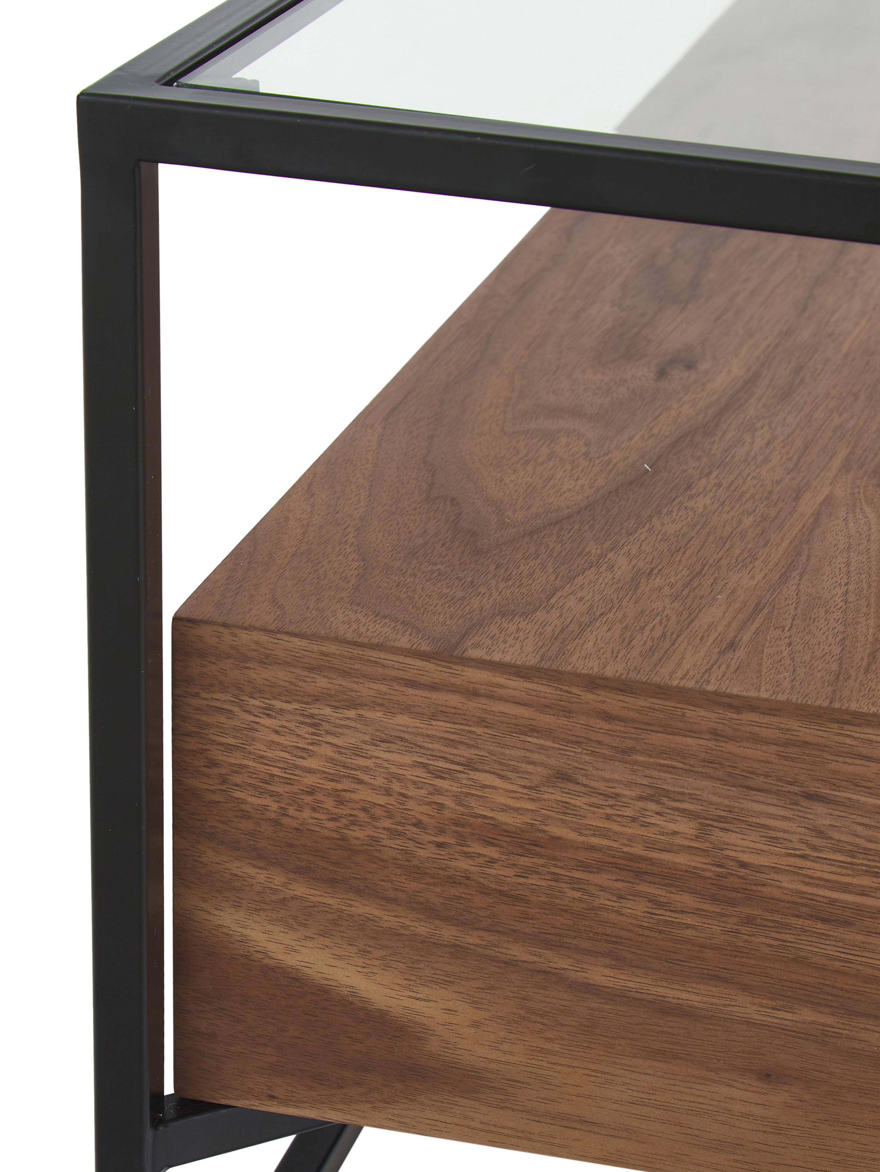 Mesa de centro con cajones Helix, Estructura: metal con pintura en polv, Negro, marrón, An 120 x Al 40 cm