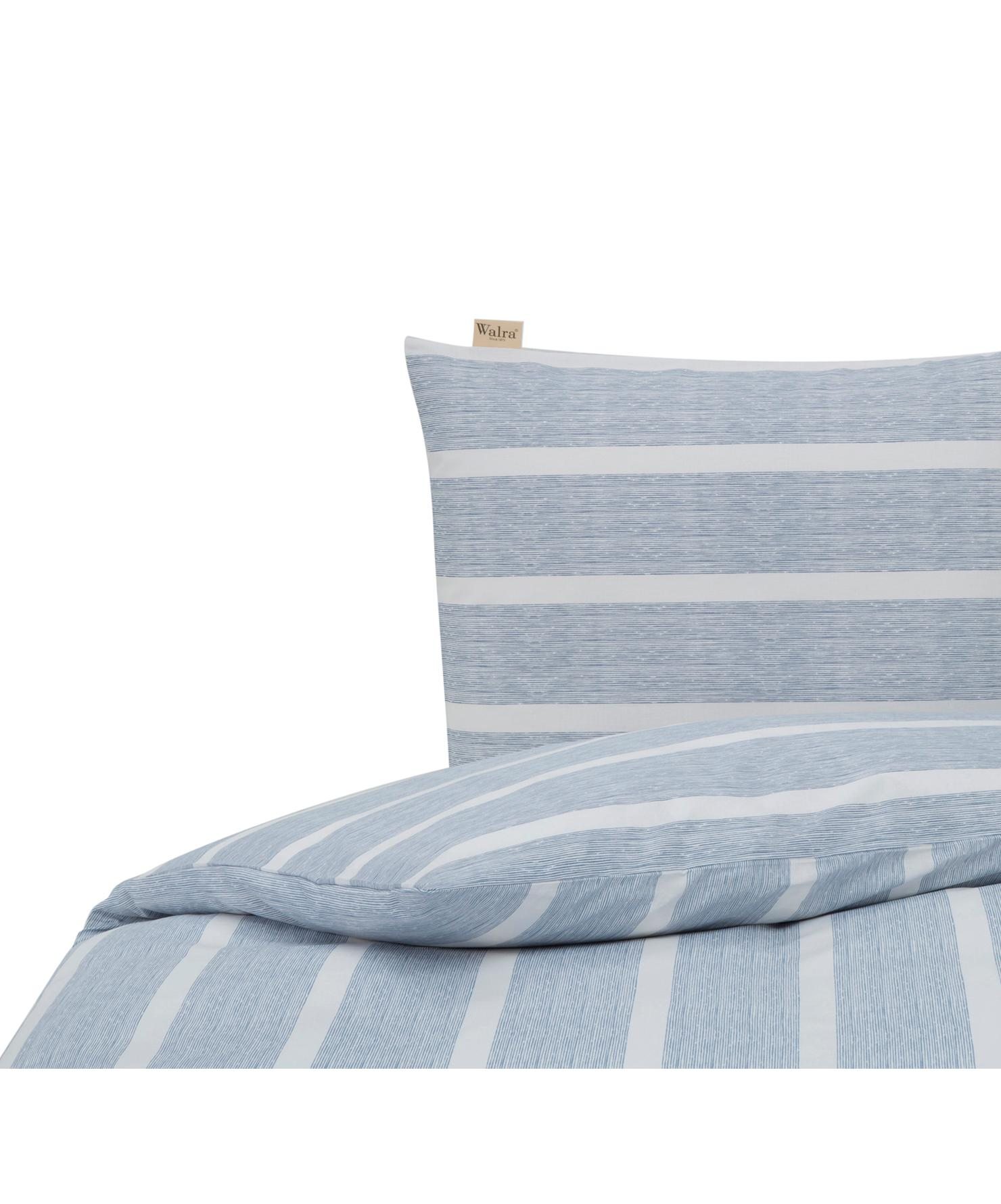 Dekbedovertrek Stripe Along, Katoen, Blauw, wit, 140 x 220 cm