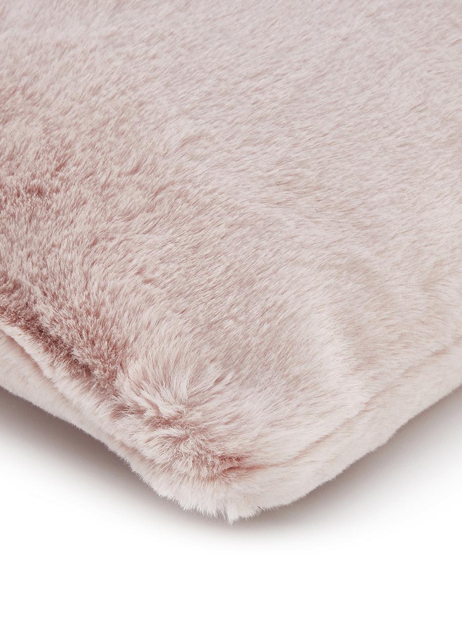 Sehr flauschige Kunstfell-Kissenhülle Mette, glatt, Vorderseite: 100% Polyester, Rückseite: 100% Polyester, Rosa, 45 x 45 cm