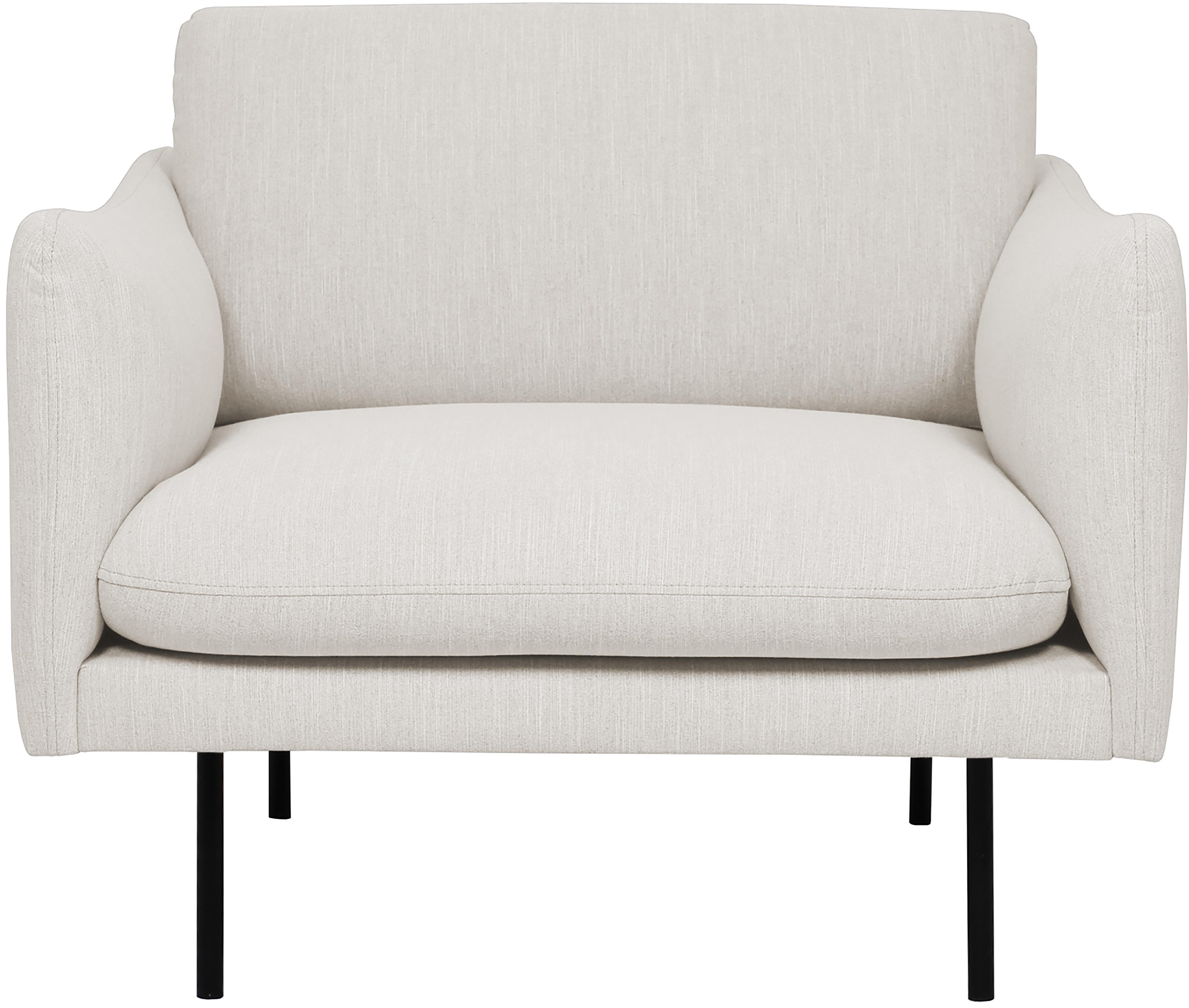 Sessel Moby, Bezug: Polyester Der hochwertige, Gestell: Massives Kiefernholz, Füße: Metall, pulverbeschichtet, Webstoff Beige, B 90 x T 90 cm