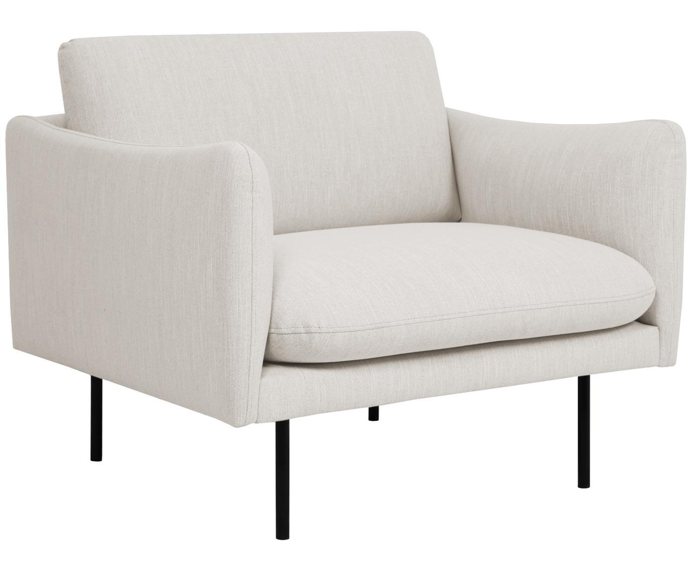 Sessel Moby, Bezug: Polyester 60.000 Scheuert, Gestell: Massives Kiefernholz, Füße: Metall, pulverbeschichtet, Webstoff Beige, B 90 x T 90 cm