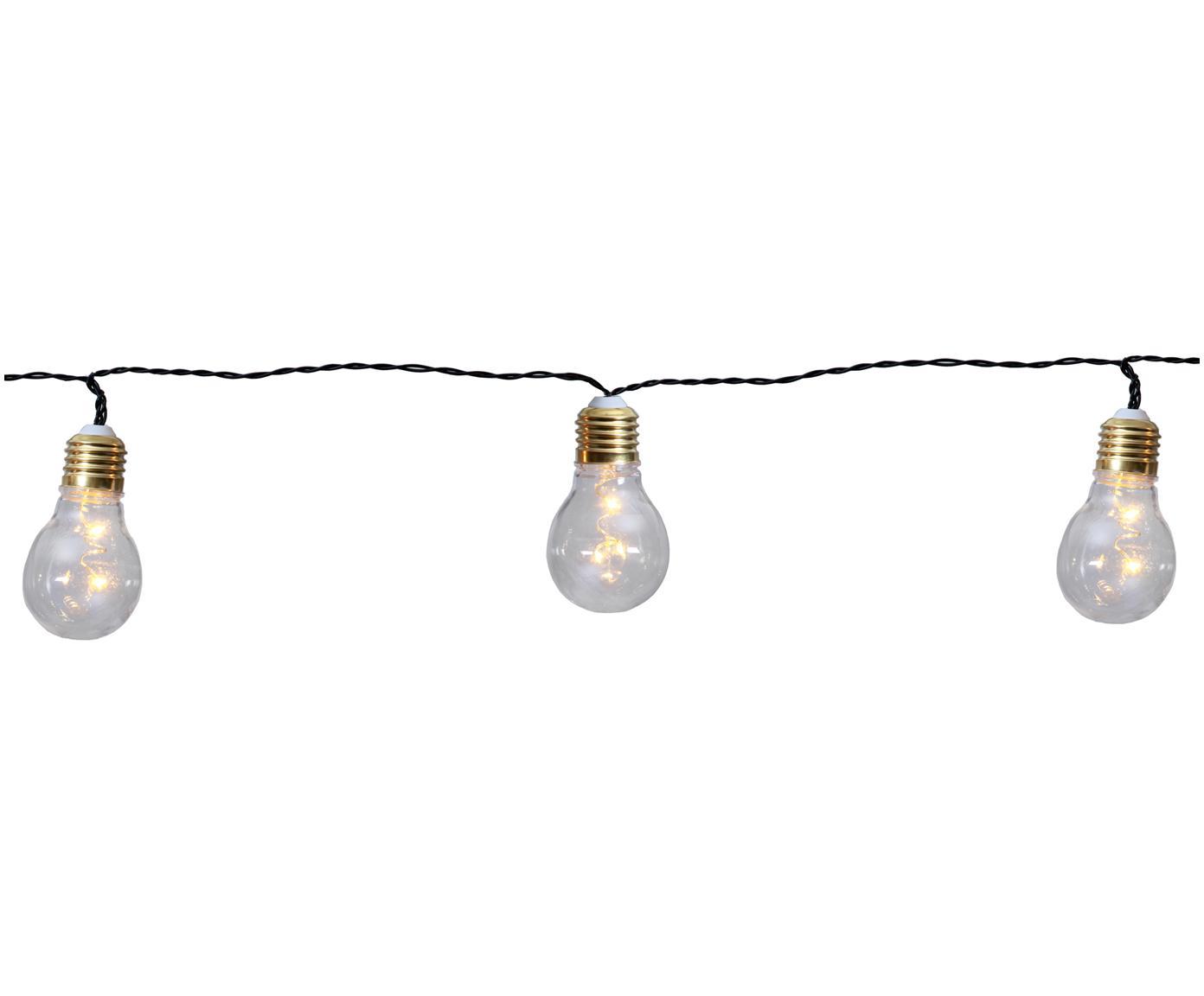 Korte LED lichtslinger Bulb, 100 cm, Peertje: kunststof, metaal, Peertje: transparant, goudkleuri. Snoer: zwart, L 100 cm
