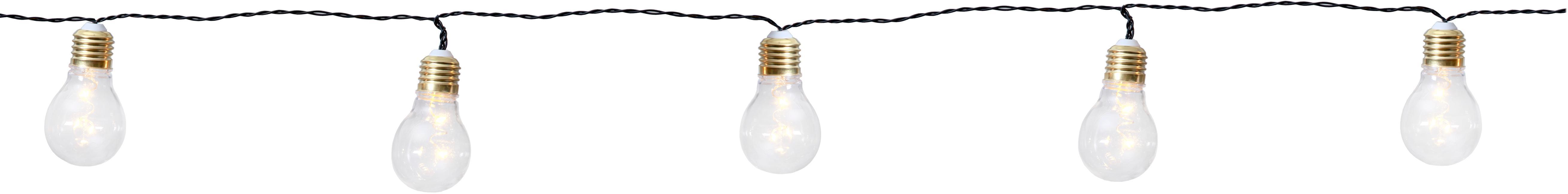 Kurze LED Lichterkette Bulb, 100 cm, Leuchtmittel: Transparent, Goldfarben<br>Kabel: Schwarz, L 100 cm