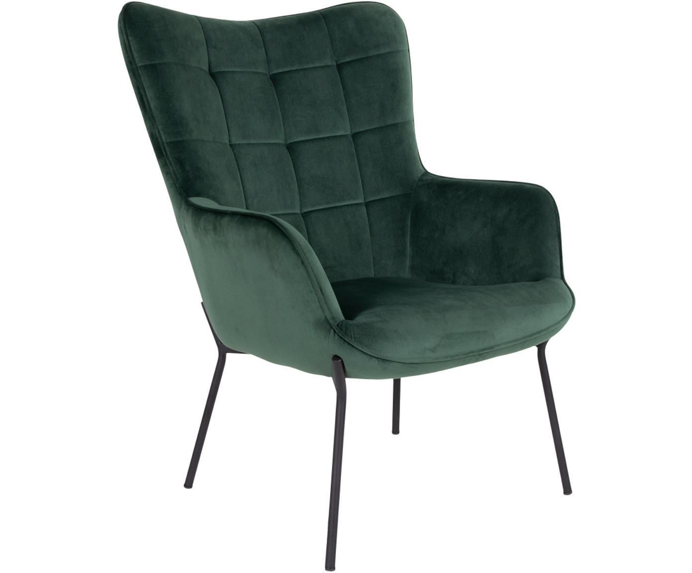 Samt-Loungesessel Glasgow, Bezug: Polyestersamt, Gestell: Kiefernholz, Füße: Stahl, beschichtet, Grün, Schwarz, B 79 x T 70 cm