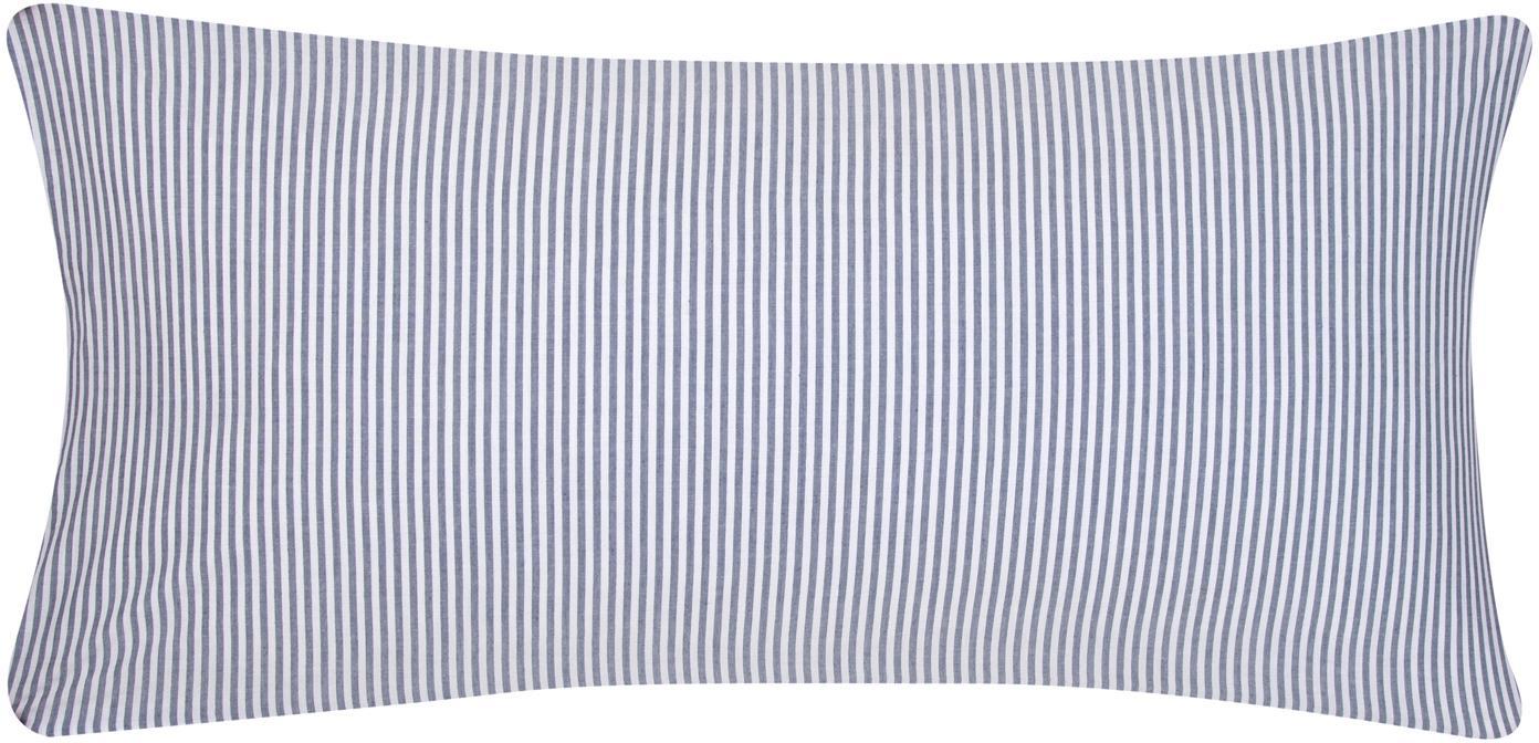 Baumwoll-Kissenbezüge Ellie, fein gestreift, 2 Stück, Webart: Renforcé Fadendichte 118 , Weiß, Dunkelblau, 40 x 80 cm