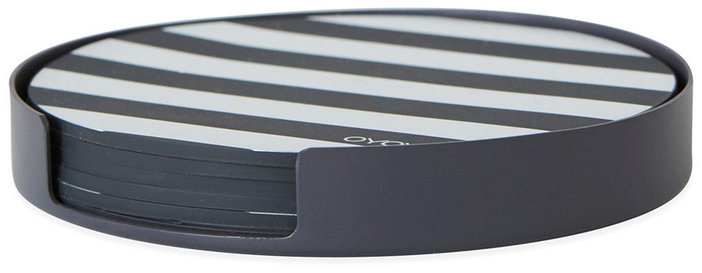 Untersetzer-Set Oka, 7-tlg., Halterung: Metall, pulverbeschichtet, Untersetzer: Silikon, Anthrazit, Weiss, Ø 9 x H 1 cm