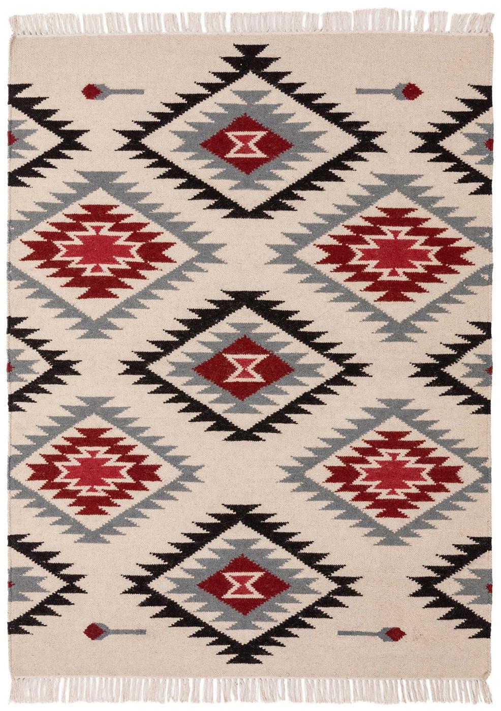 Handgeweven kelim vloerkleed Zohra Rose van wol, Bovenzijde: 90% wol, 10% katoen, Onderzijde: wol, Beige, grijs, zwart, rood, B 120 x L 170 cm (maat S)
