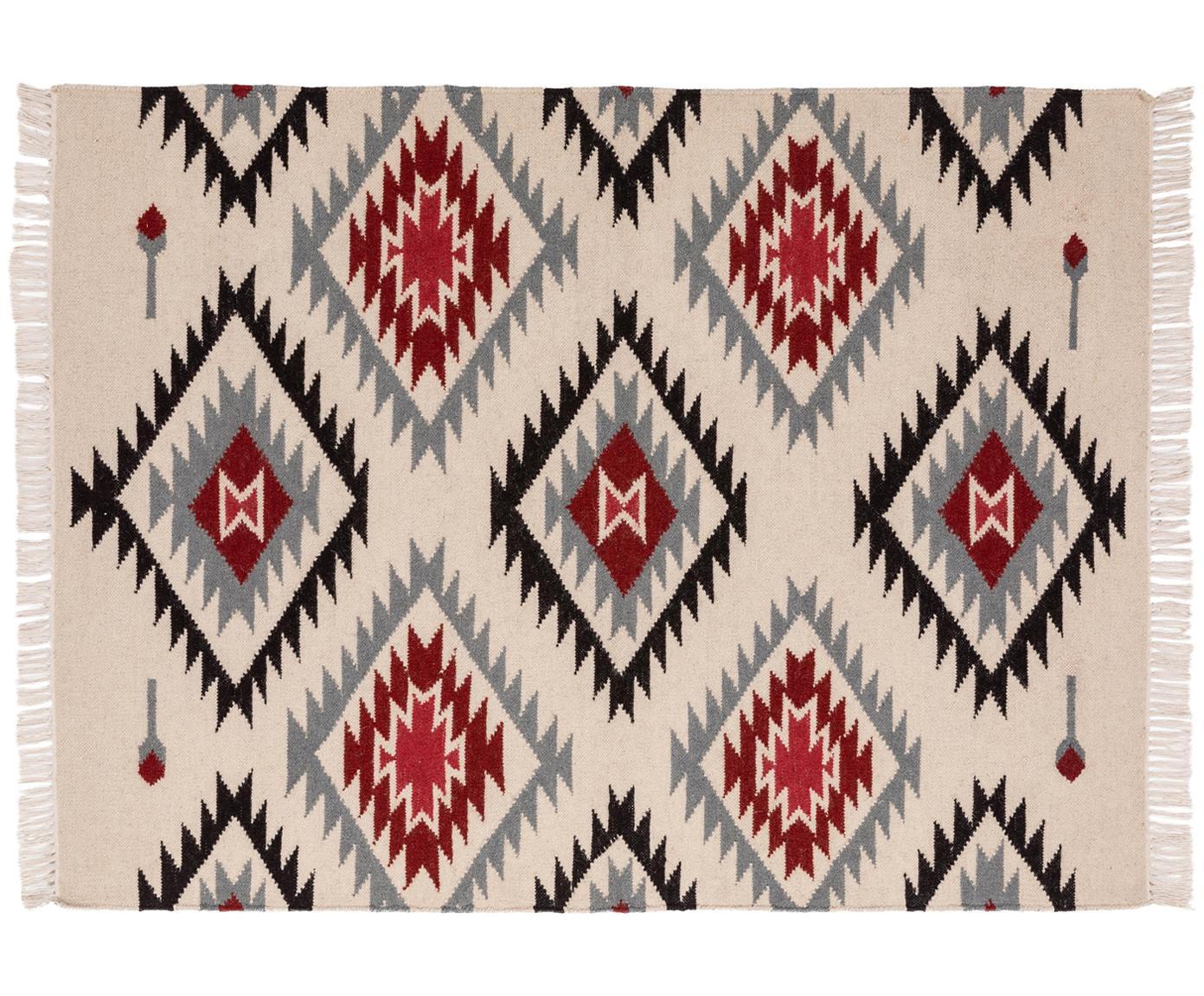 Ręcznie tkany dywan z wełny Zohra Rose, Beżowy, szary, czarny, czerwony, S 120 x D 170 cm (Rozmiar S)