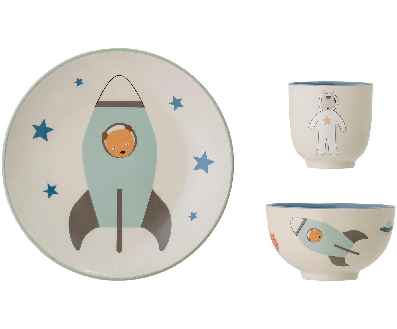 Set stoviglie Space 3 pz, Terracotta, Bianco latteo, multicolore, Set in varie misure
