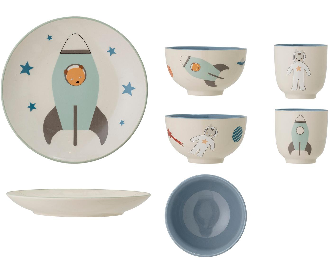 Geschirr-Set Space, 3-tlg., Steingut, Gebrochenes Weiß, Mehrfarbig, Sondergrößen