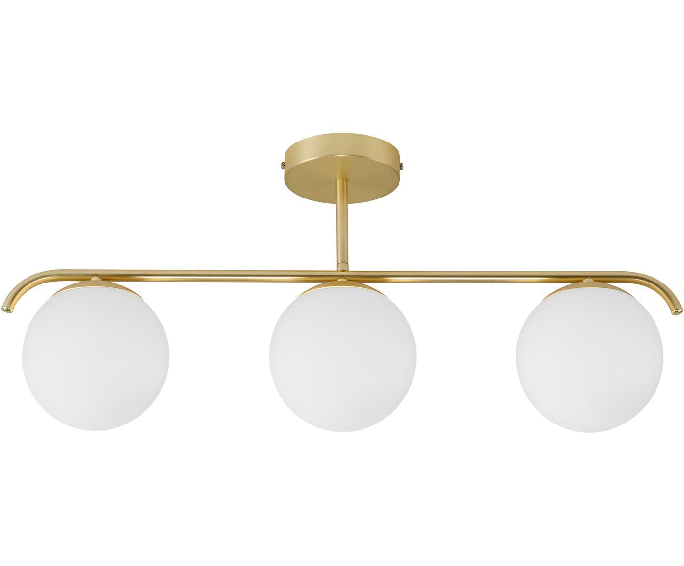 Deckenleuchte Grant aus Opalglas, Lampenschirm: Opalglas, Baldachin: Metall, beschichtet, Weiß, Messingfarben, 70 x 30 cm