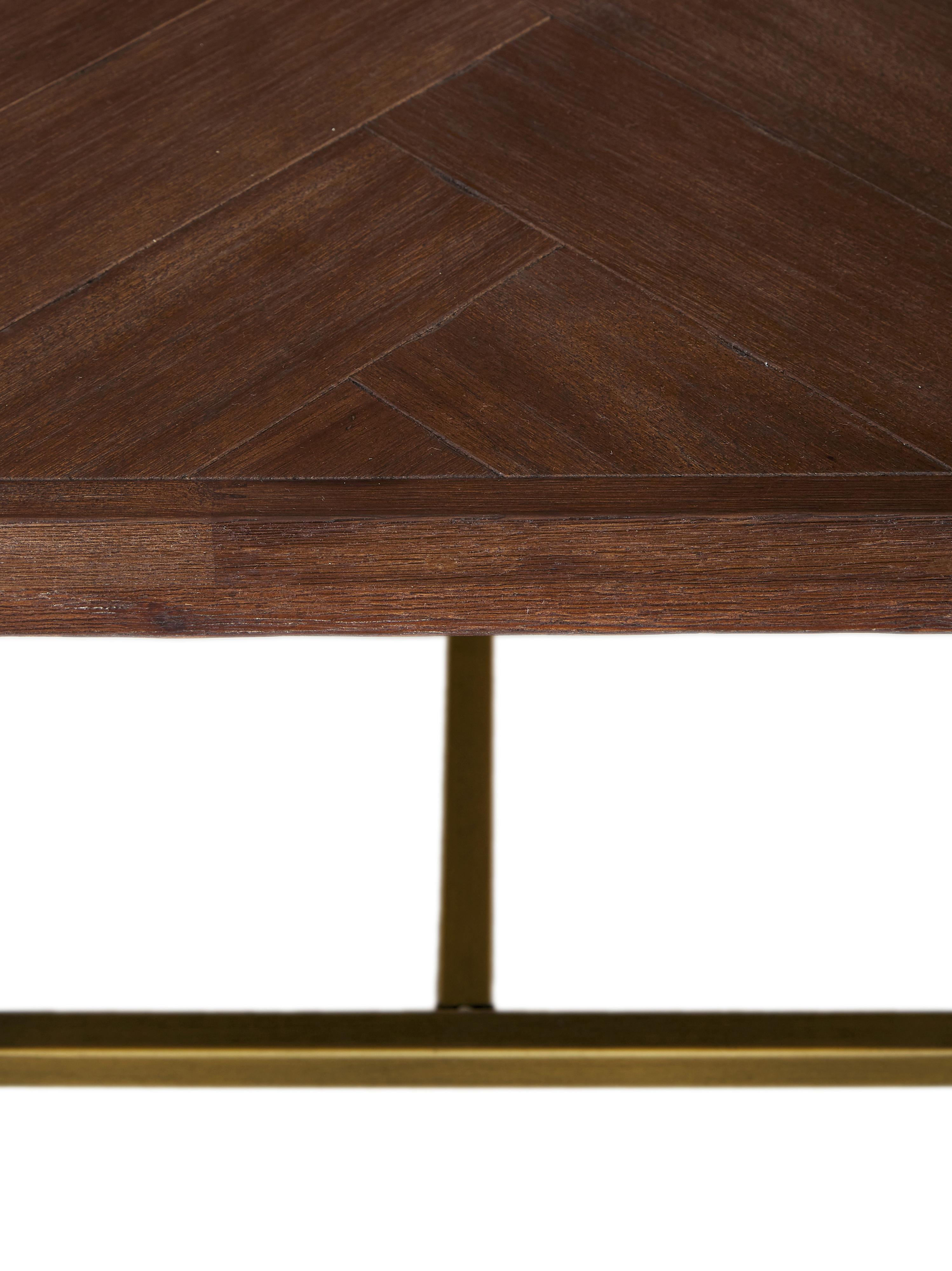 Mesa de centro en acacia Class, Tablero: tablero de fibras de dens, Patas: acero recubierto, Marrón, An 120 x Al 35 cm