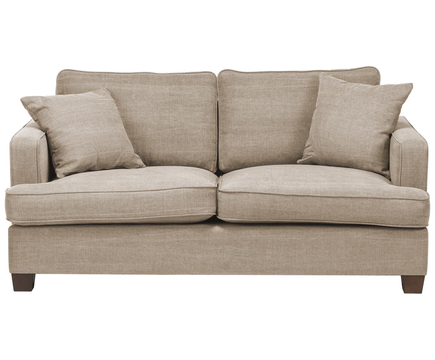 Duża sofa Warren (2-osobowa), Stelaż: drewno naturalne, Tapicerka: 60%bawełna, 40%len, Nogi: czarne drewno, Beżowy, S 178 x W 85 cm