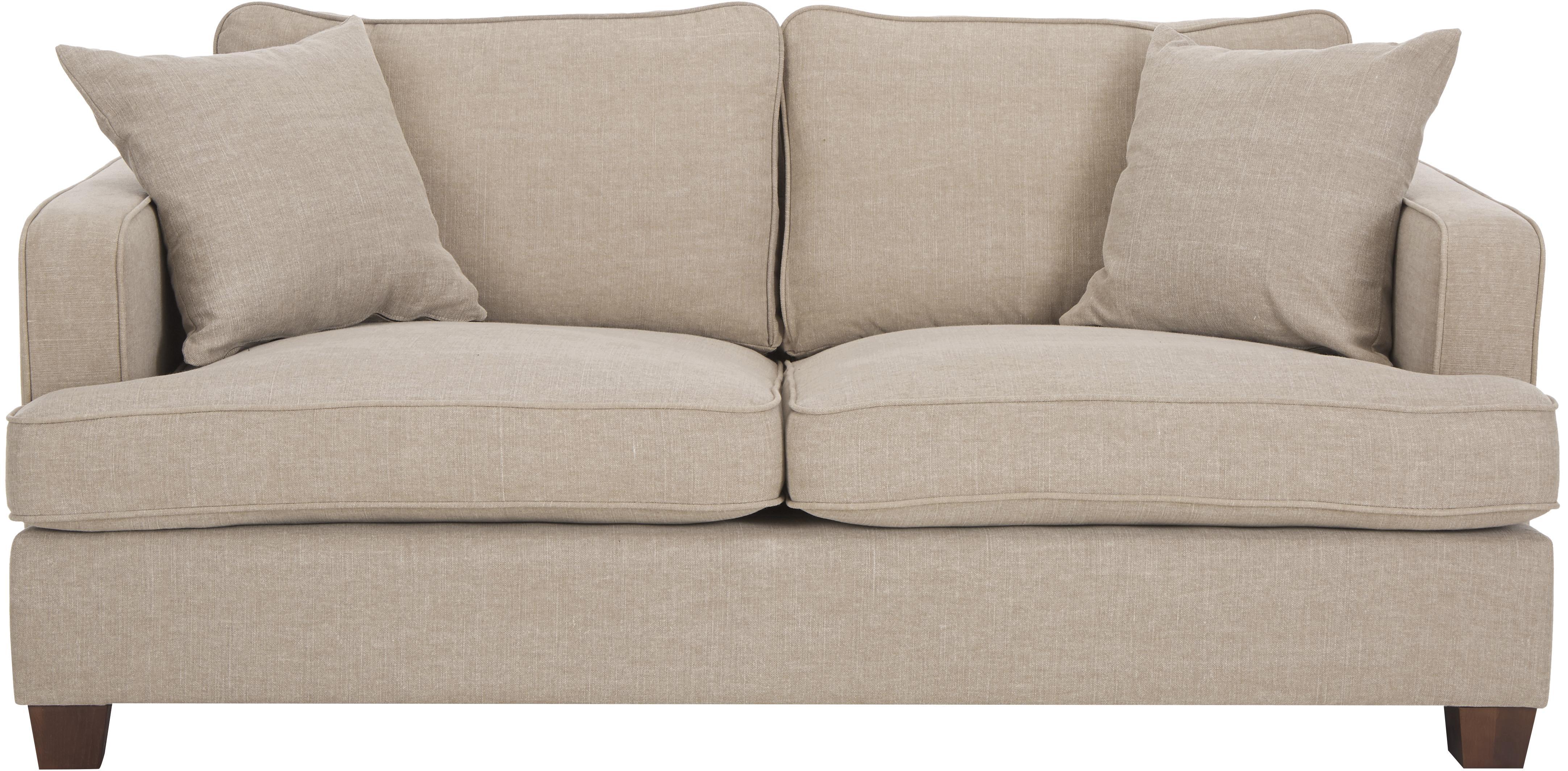 Big Sofa Warren (2-Sitzer), Gestell: Holz, Bezug: 60% Baumwolle, 40% Leinen, Beine: Schwarzholz, Webstoff Beige, 178 x 85 cm
