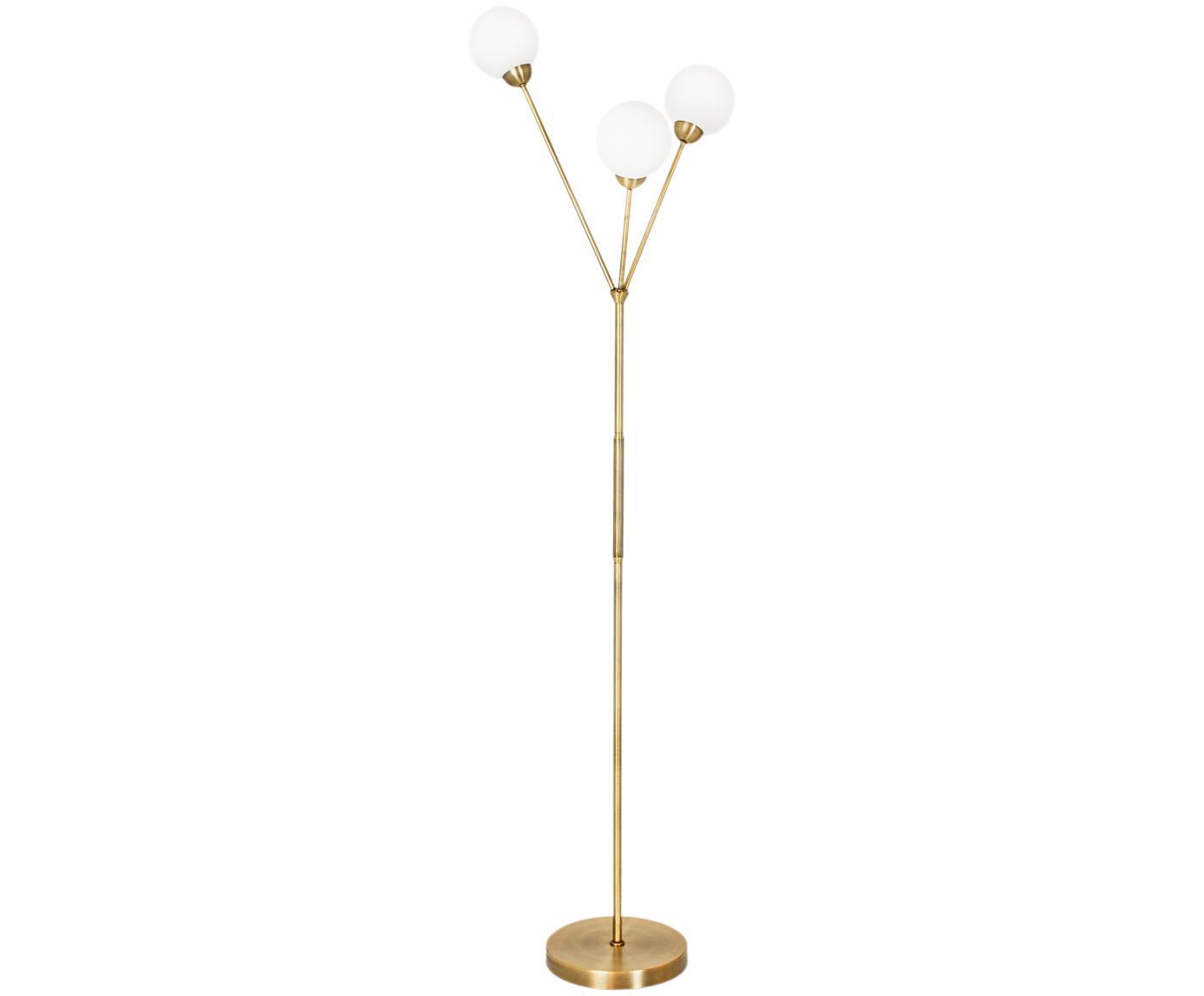 Lampada da terra in oroTwiggy, Base della lampada: ottone, Paralume: vetro, Bianco, ottone, Ø 43 x Alt. 165 cm