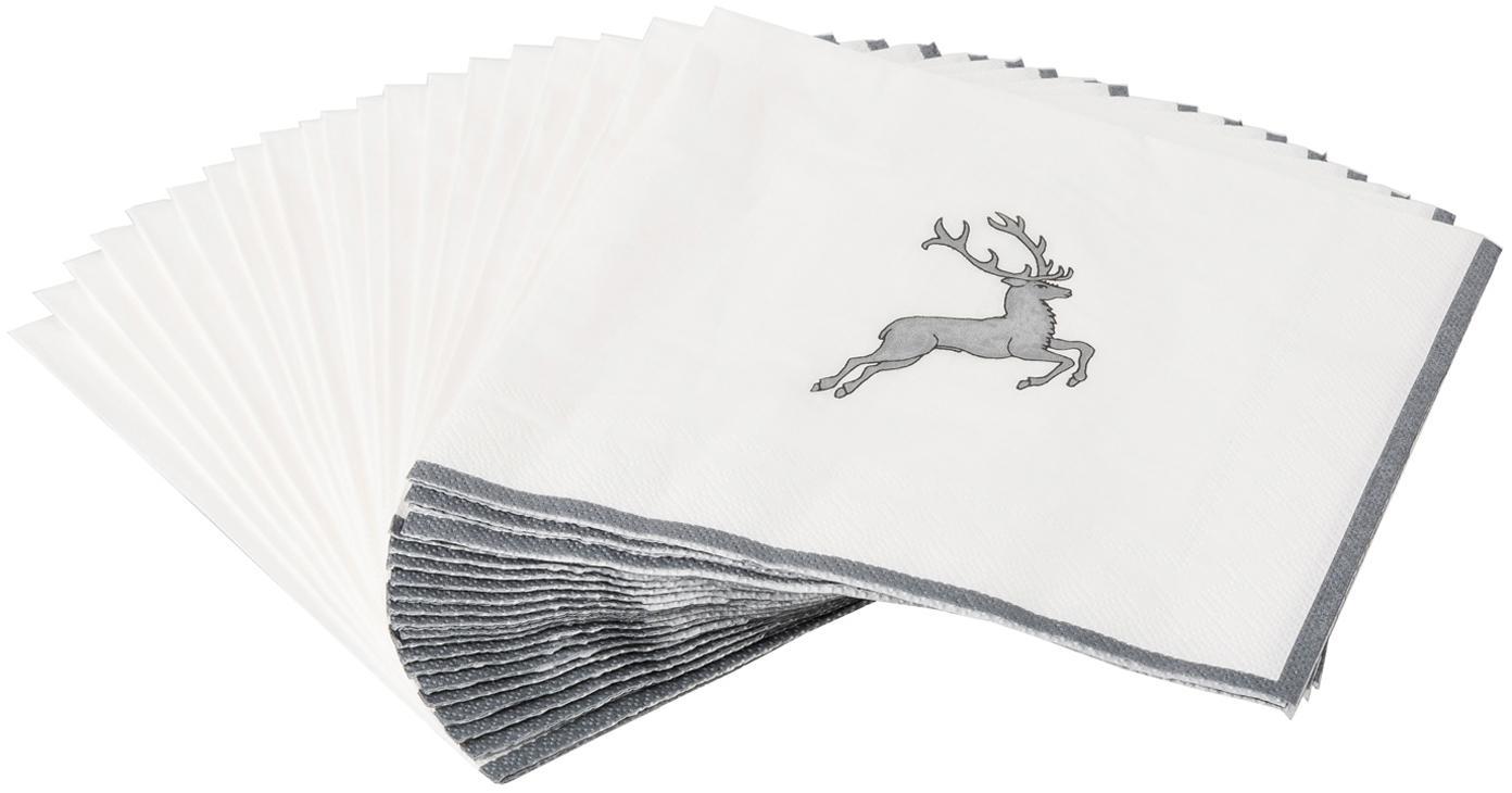 Servilletas de papel Grauer Hirsch, 20uds., Papel, Gris, blanco, An 33 x L 33 cm