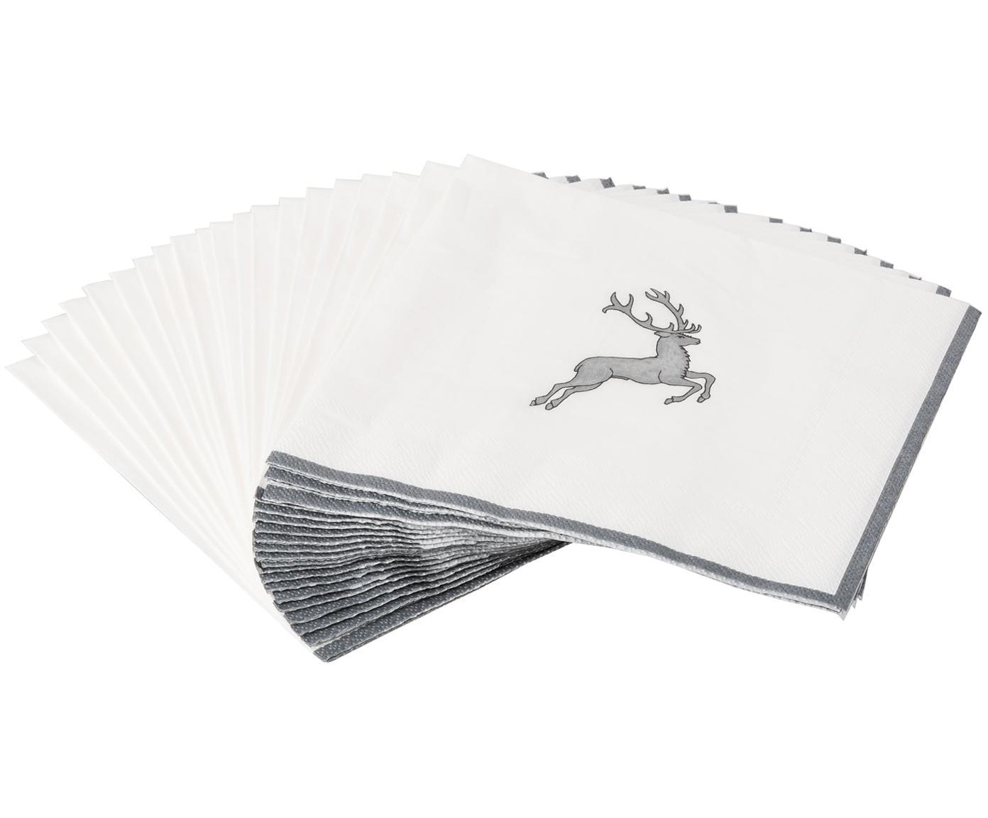 Papier-Servietten Grauer Hirsch, 20 Stück, Papier, Grau,Weiß, 33 x 33 cm