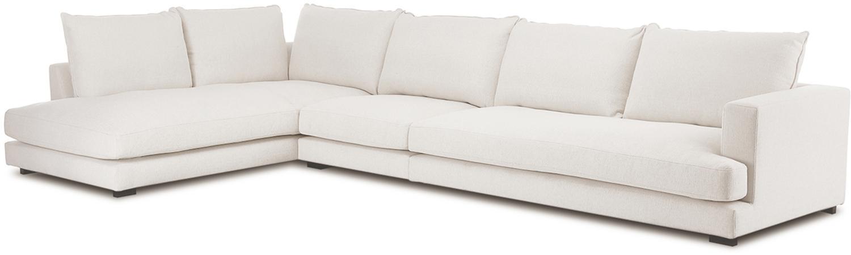XL-hoekbank Tribeca, Bekleding: polyester, Zitvlak: schuimstof, vezelmateriaa, Frame: massief grenenhout, Poten: gelakt massief grenenhout, Beige, B 405 x D 228 cm