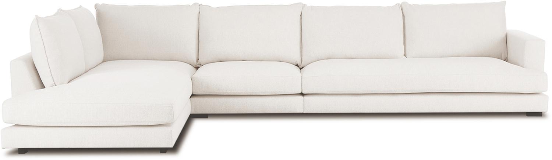 XL-hoekbank Tribeca, Bekleding: polyester De bekleding is, Frame: massief grenenhout, Poten: massief gelakt beukenhout, Geweven stof beige, B 405 x D 228 cm