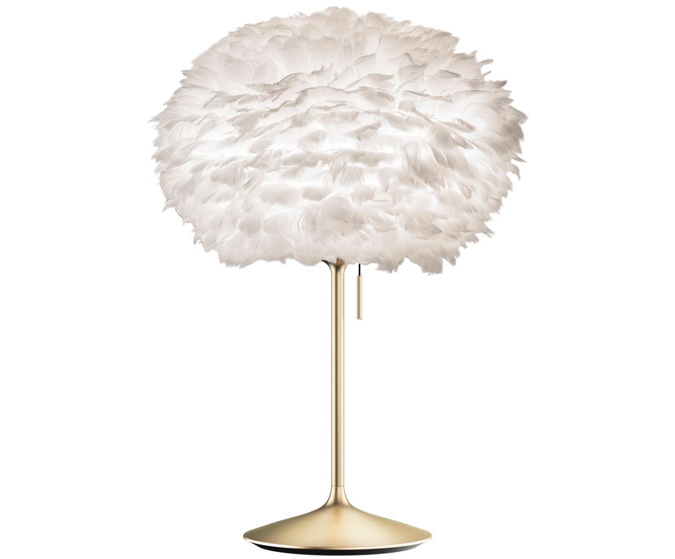 Duża lampa stołowa Eos Champagne, Stelaż: stal, Biały, mosiądz, Ø 45 x W 72 cm