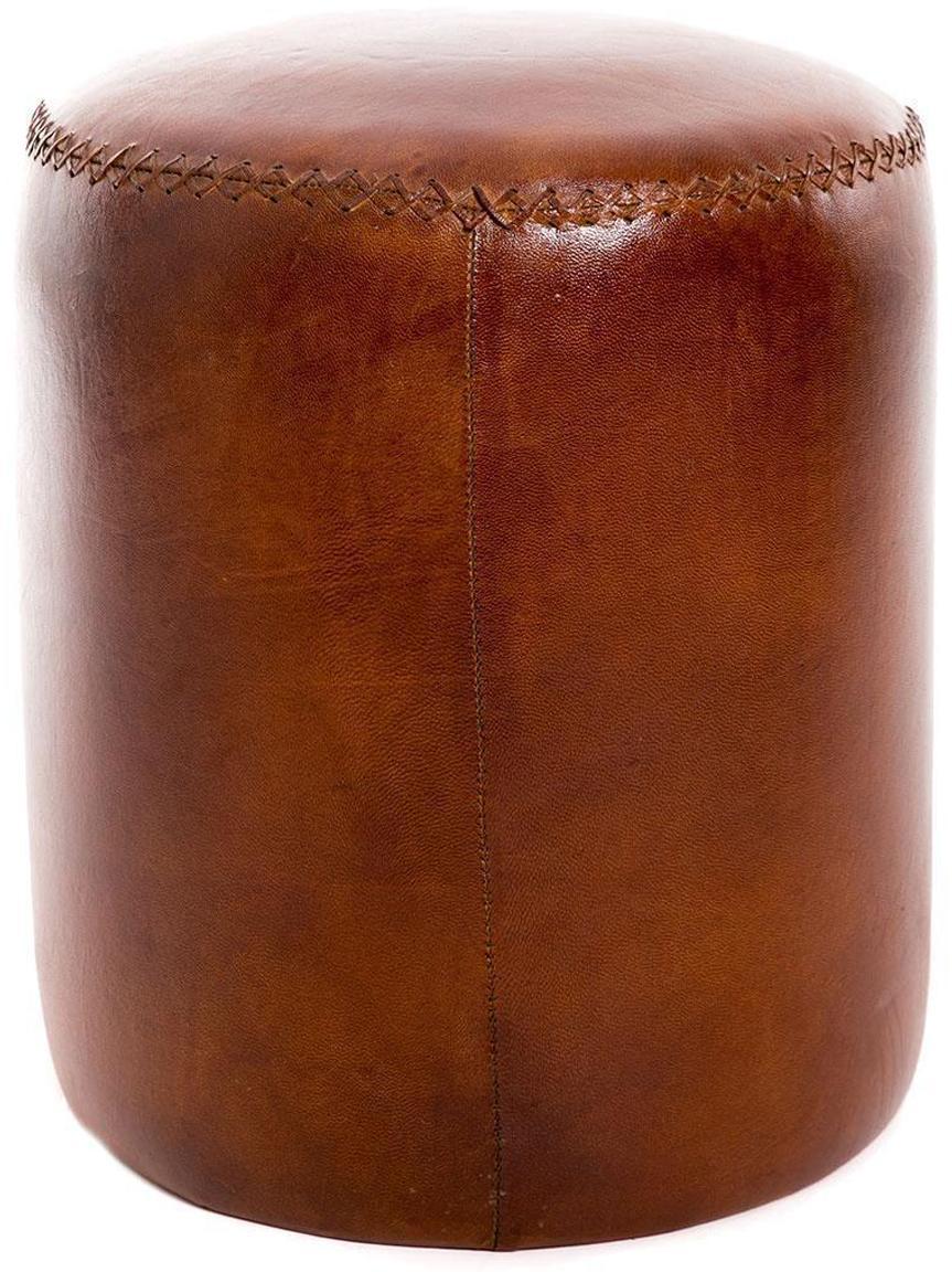 Puf Hailey, Estructura: madera, Tapizado: cuero sintético, Marrón chocolate, Ø 38 x Al 46 cm