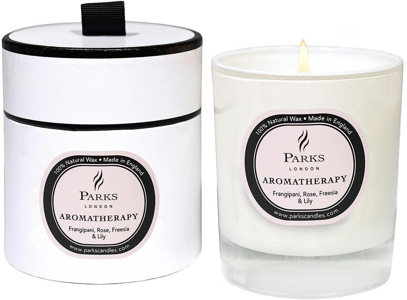 Świeca zapachowa Aromatherapy (róża, frezja, lilia), Transparentny, biały, różowy, Ø 8 x W 9 cm