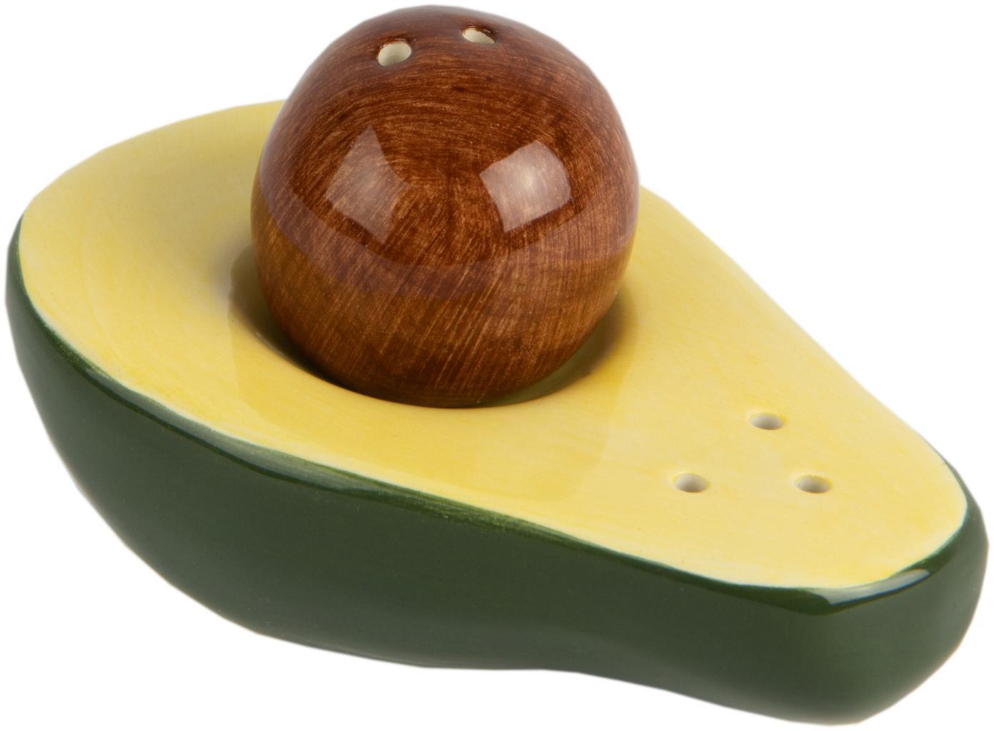 Salz- und Pfefferstreuer Avocado, 2er-Set, Porzellan, Grün, Gelb, Braun, 9 x 5 cm