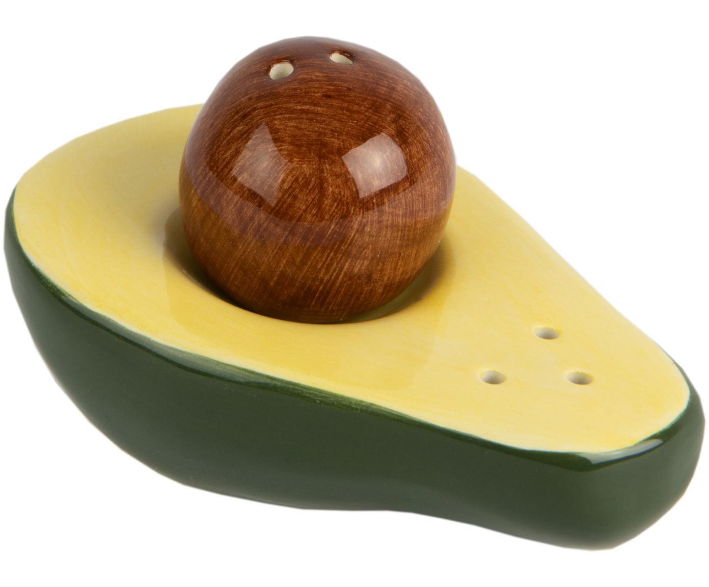 Solniczka i pieprzniczka Avocado, Porcelana, Zielony, żółty, brązowy, S 9 x W 5 cm