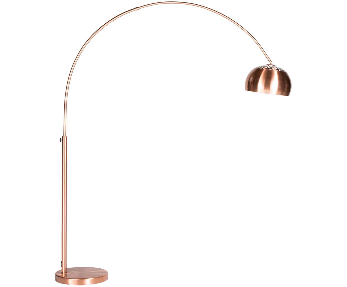 Lampa podłogowa w kształcie łuku z regulacją wysokości Metal Bow, Miedź, S 170 x W 205 cm
