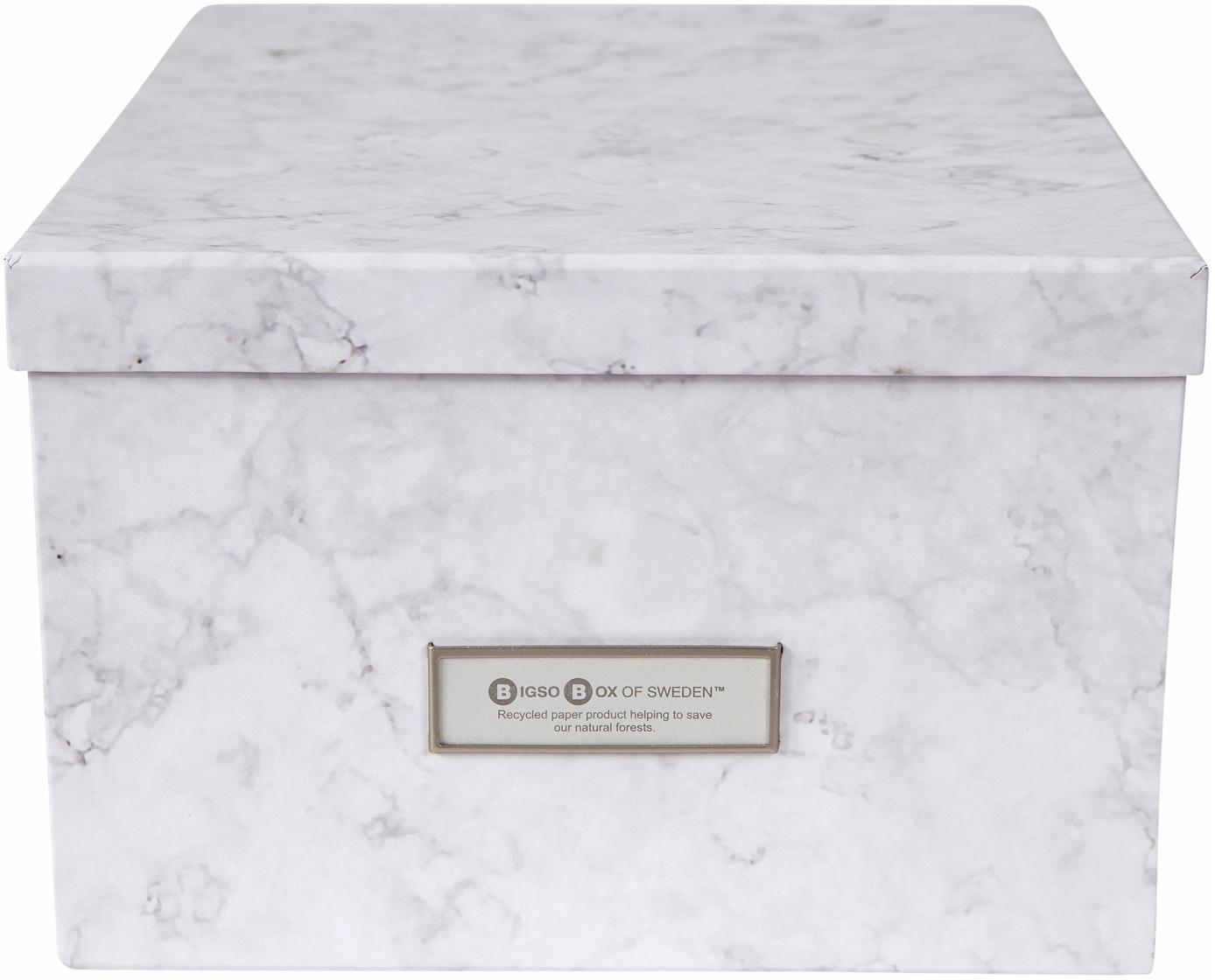 Aufbewahrungsbox Gustav, Box: Fester, laminierter Karto, Weiß, marmoriert, 30 x 15 cm