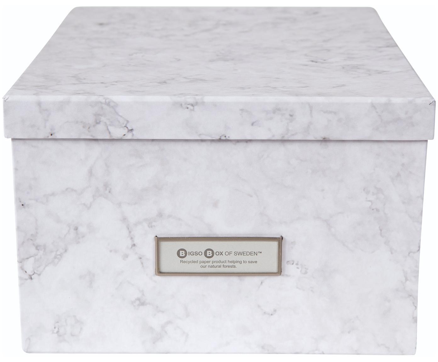 Aufbewahrungsbox Gustav, Box: Fester, laminierter Karto, Weiss, marmoriert, 30 x 15 cm