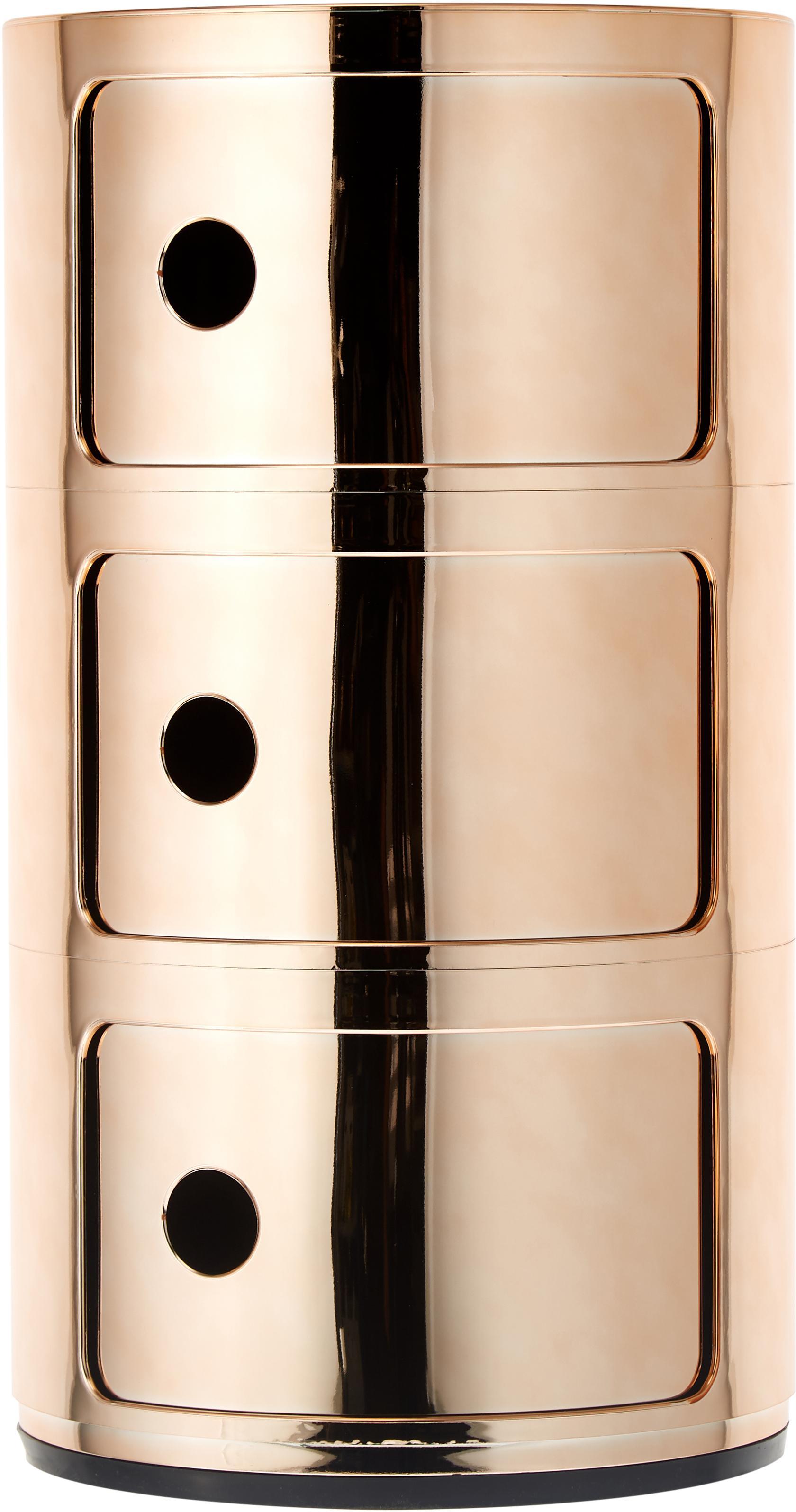 Bijzettafel Componibile, Metallic gecoat kunststof, Koperkleurig, Ø 32 x H 59 cm