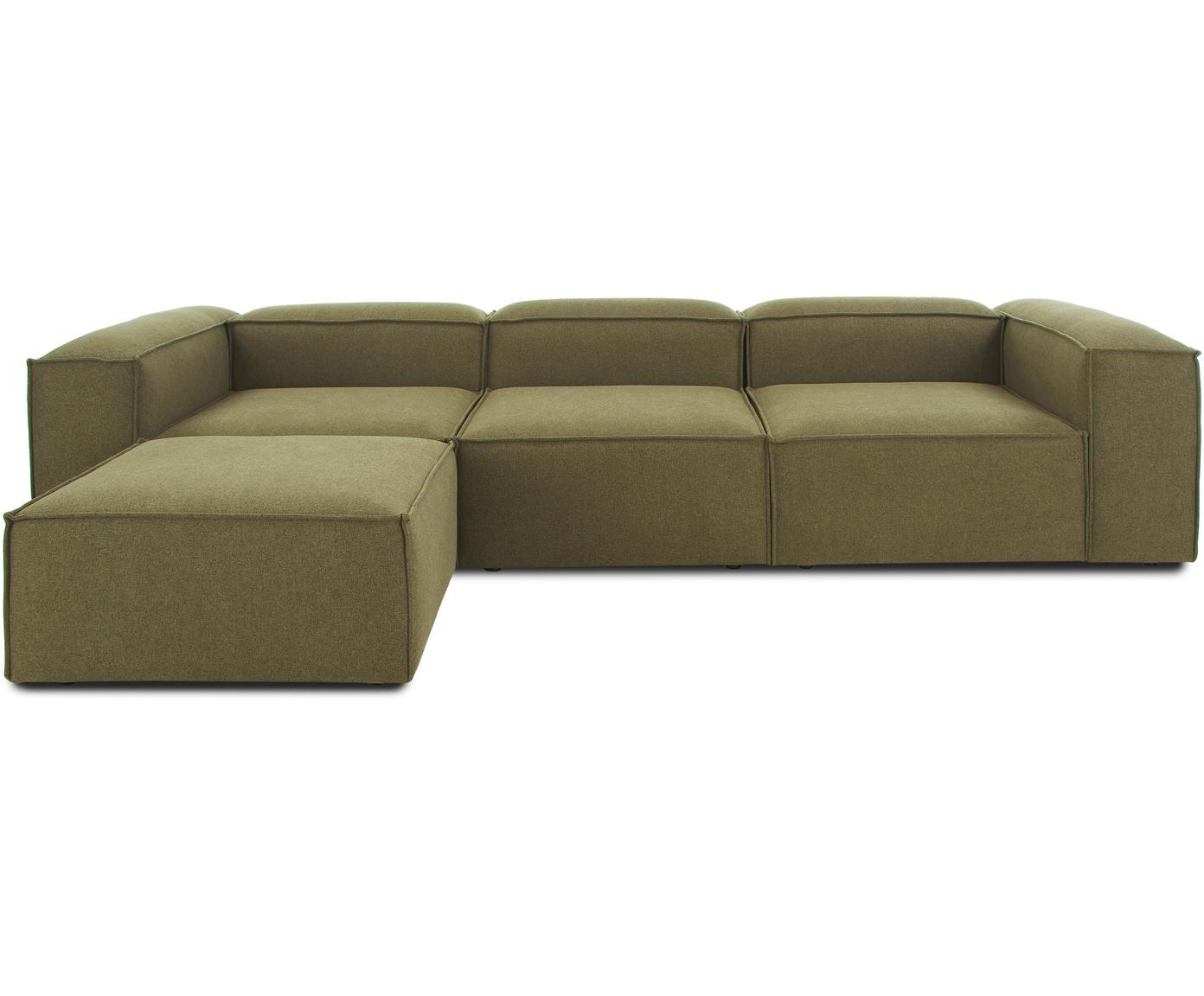 Sofa modułowa narożna Lennon, Tapicerka: 100% poliester 35000cyk, Stelaż: lite drewno sosnowe, skle, Nogi: tworzywo sztuczne, Zielony, S 326 x G 207 cm