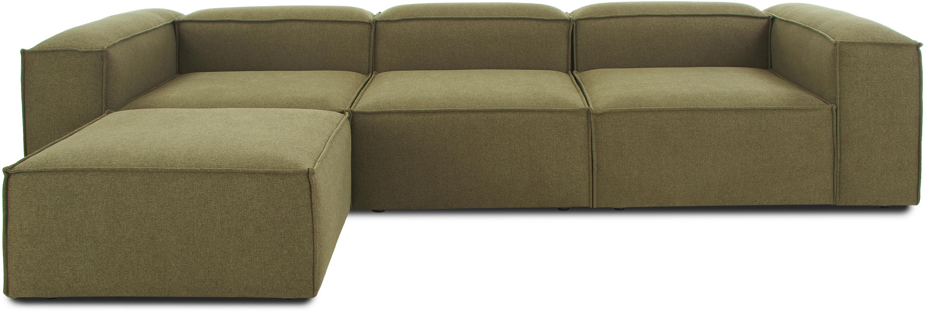 Sofá rinconera modular Lennon, Tapizado: 100%poliéster 35.000cic, Estructura: madera de pino maciza, ma, Patas: plástico, Tejido verde, An 326 x F 207 cm