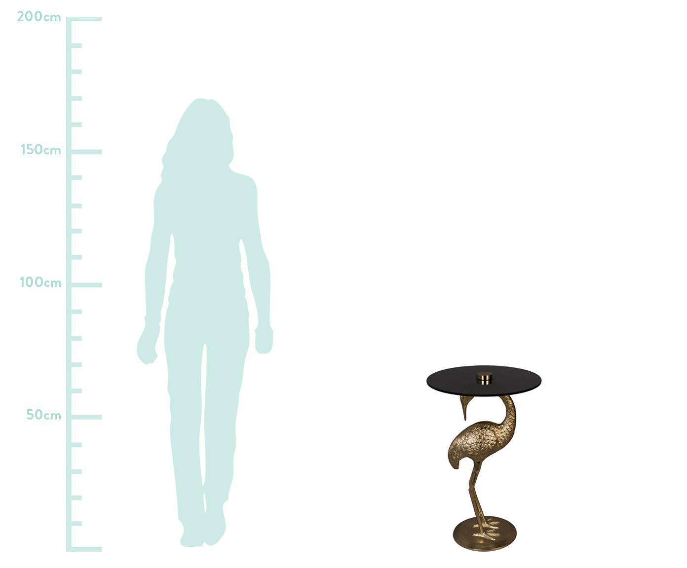 Tavolino con piano in vetro Crane, Piano d'appoggio: vetro, Struttura: alluminio, rivestito, Nero, dorato, Ø 40 x Alt. 63 cm