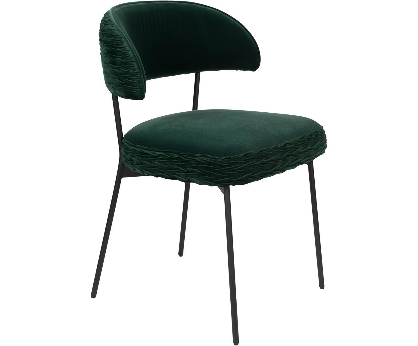 Silla tapizada en terciopelo TheWinner Takes It All, Tapizado: terciopelo de poliéster 3, Estructura: metal con pintura en polv, Verde, An 57 x F 56 cm
