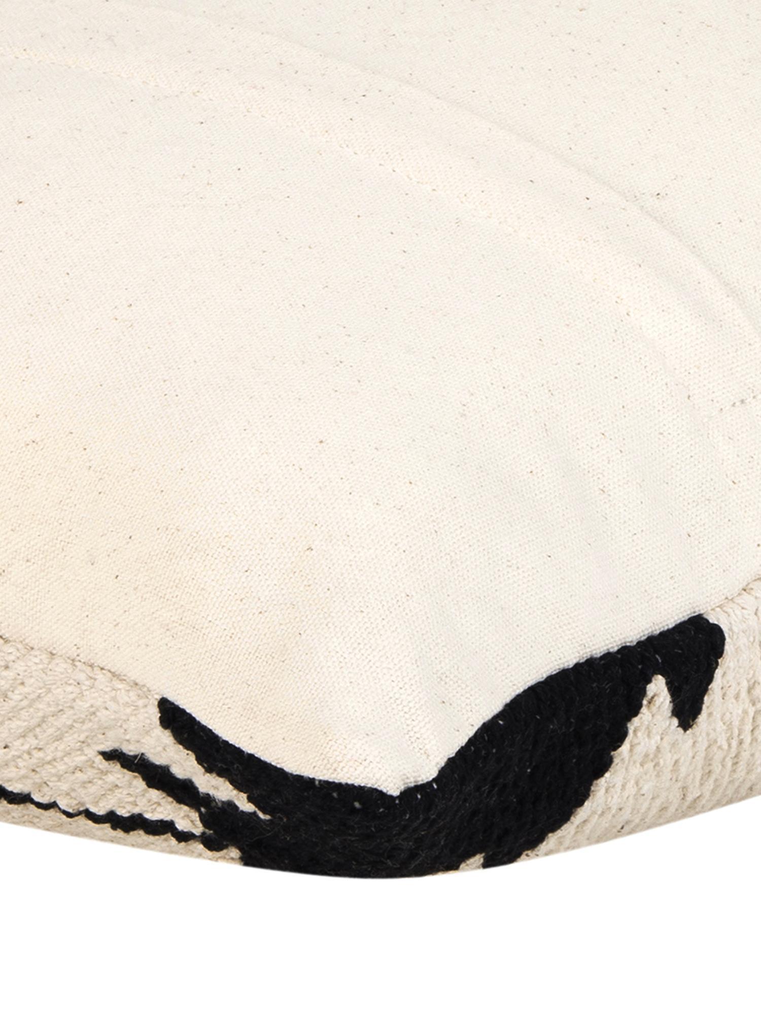 Gewebte Kissenhülle Cancun im Ethno Style, 100% Baumwolle, Schwarz, Beige, 45 x 45 cm